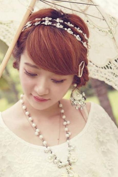 Bridal Head Piece Head Band Platinum Plated Chain Elastic Flower Stretch Hair Band Headband