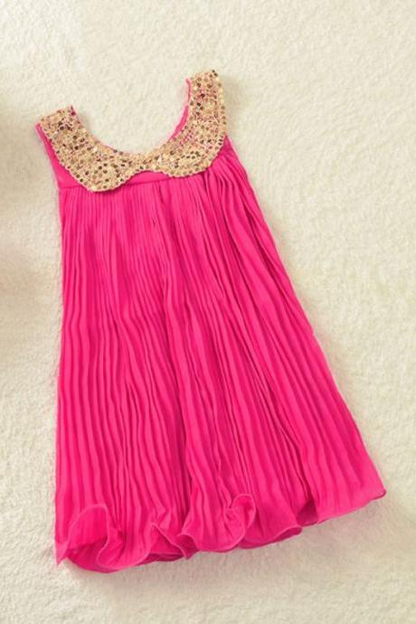 Pink Dress for Toddler Girls Rose Pink Color