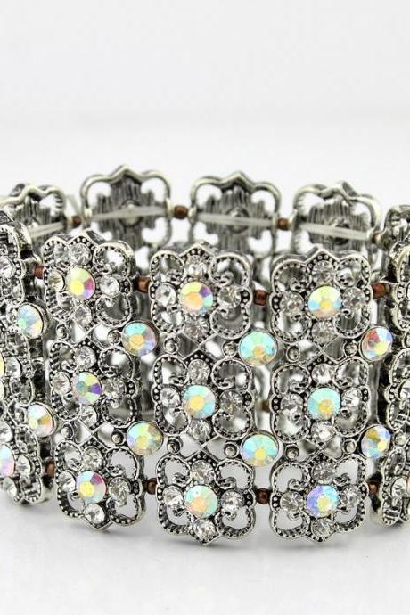 Beautiful Floral Crystal Bracelet