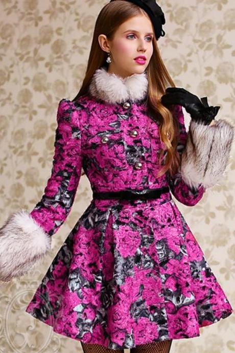Pink Trench Coats Skirted Type Fuchsia Printed Wool Big Roses