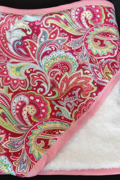 Hooded Towel in Pink Green Paisley