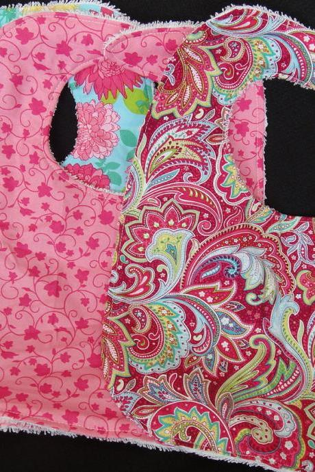 Bib Set Pink Blue Paisley Flower