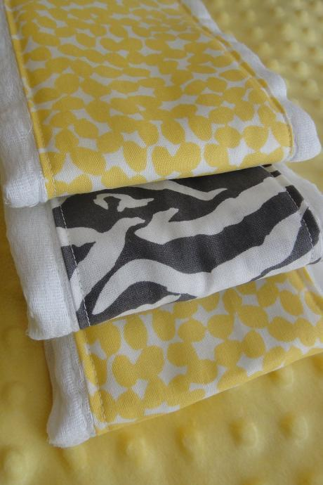 Baby Burp Cloth Set Yellow and Grey Print