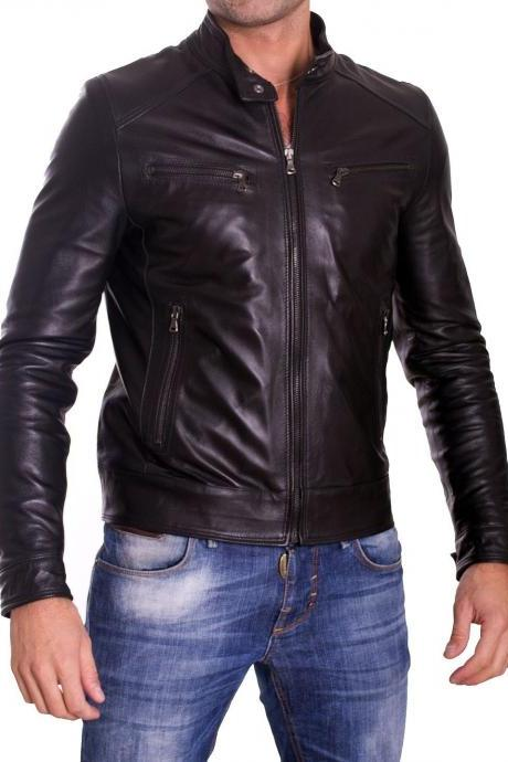 MENS LEATHER JACKET, MEN BIKER LEATHER JACKET