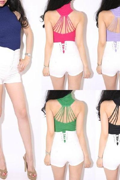 7 Colors Cut Out Knitted Top Tank jumper Sweater sleeveless backless Women Chic Style