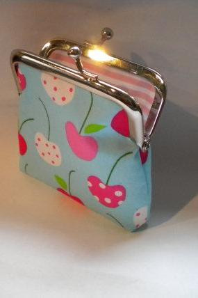 Cute Kawaii small frame coin purse - mini change pouch with Aqua blue cherry and stripes fabrics