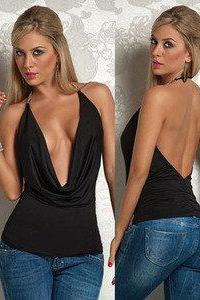 Sexy Black Open Back Plunging Drape Neck Halter Shirt Tank Top