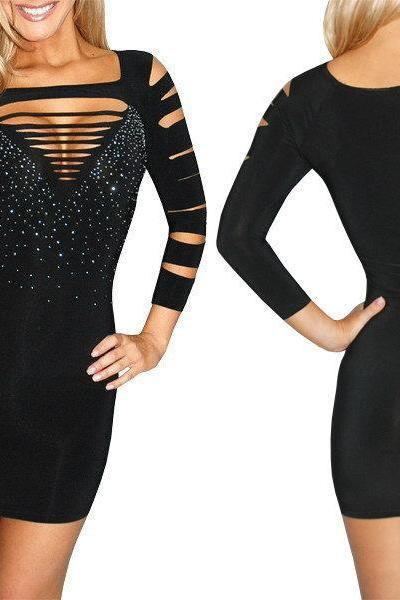 Sexy Black Slashed Destroyed Ripped Open Cut Out Rhinestone Bodycon Mini Club Dress