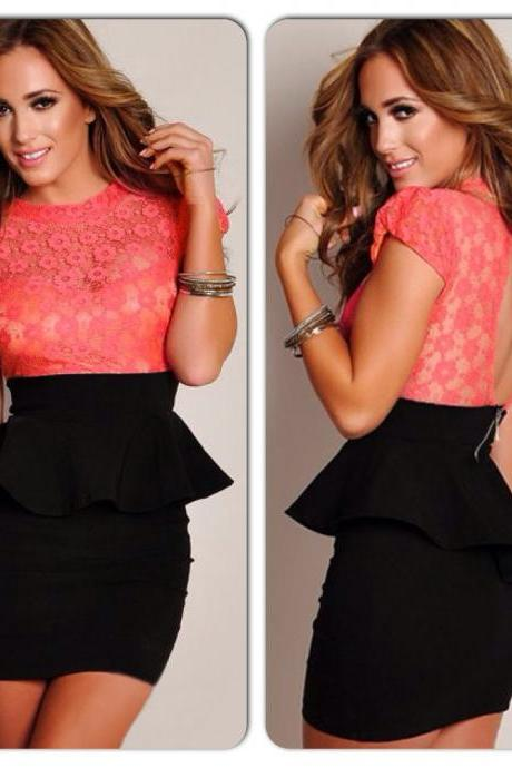 Sexy Coral Black Bodycon Lace Open Back Peplum Dress