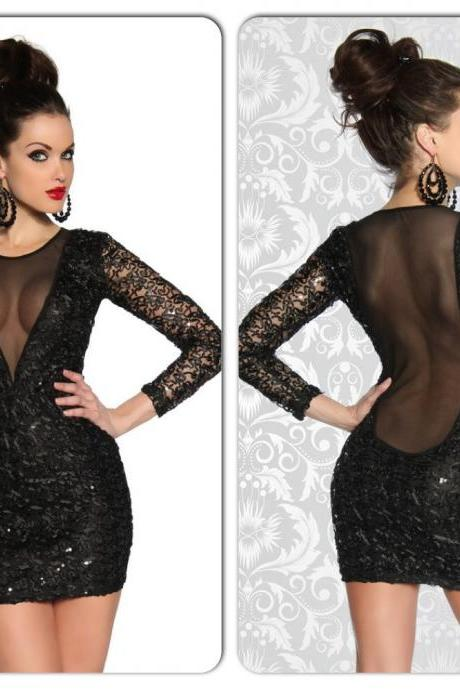 Sexy Black Sequin Mesh Lace Open Back Mini Dress