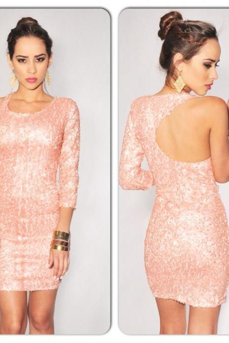 Sexy Pink Sequined Open Back Mini Dress