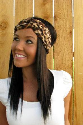 Black, Brown, & Cream Cheetah Leopard Animal Print Stretch Jersey Knit Cotton Fabric Fashion Turban Headband Hair Band Wrap Cute Accessories
