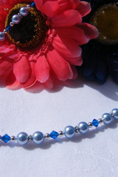 Light Blue Swarovski Pearl Necklace with Capri Blue Crystals, Adjustable Length