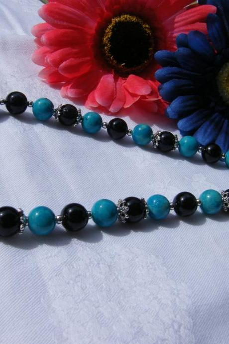 Turquoise & Black Riverstone Necklace, 18' Length