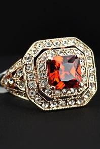 18K RGP Antique Paved Garnet Cubic Zirconia Finger Ring