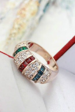 RGP Tri-Color Cocktail Ring, sz 5.5 thru 9