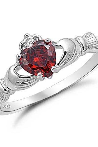 10kt Filigree White Gold Filled Garnet Heart Shaped Crystal Claddagh Ring