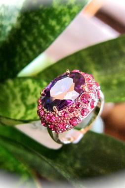 Stunning Amethyst in Pink Austrian Crystal Cocktail Ring (7, 8)