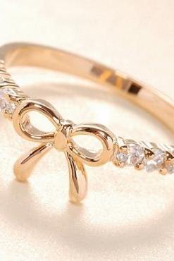 Adorable Bow Design Crystal Embellished Ring