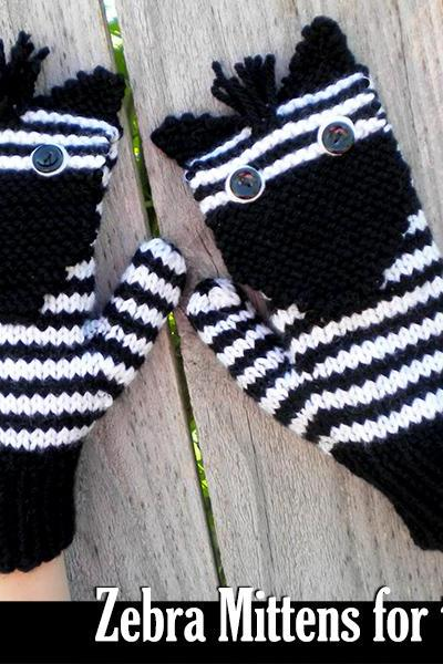 Zebra Mittens for the Family Knitting Pattern