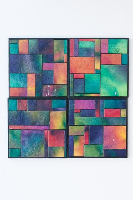 Handmade Paper Colorful Geometric Coasters