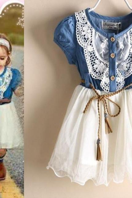 Ready for Shipping! Denim Summer Cowgirl Style Dress-Girls Denim Dress Barn Wedding Dress Cowgirl Toddler Western Denim Props