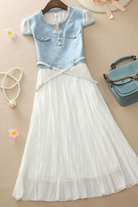 Denim stitching chiffon dress MX61233