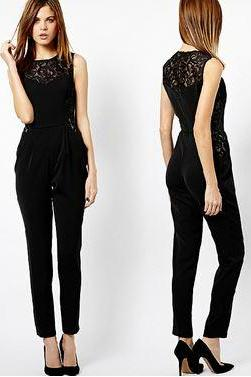 Elegant and Trendy Black Sleeveless Jumpsuit with Lace