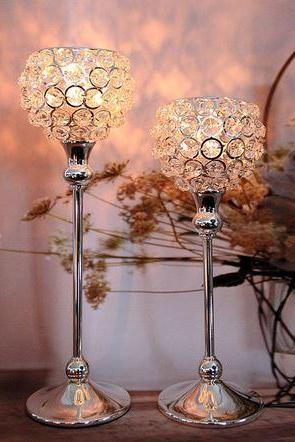 Romantic 1 Set of 2 Pieces European Style Crystal Candle Holder