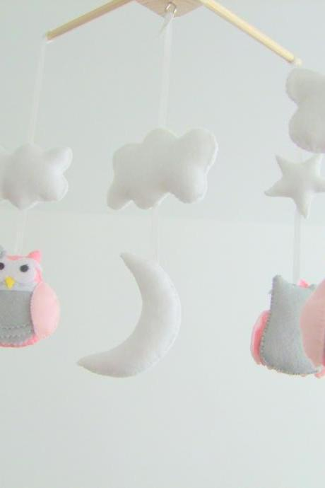 Personalized handmade Baby Crib mobile felt owl pink & Grey baby mobile Nursery crib mobile Custom colors
