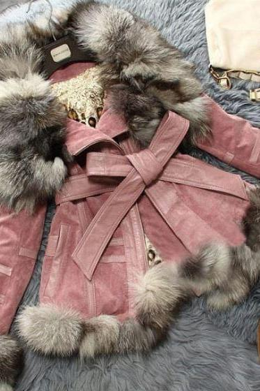 Genuine Fox Fur Pig Leather Pink Coat Jacket -Fox Fur Winter Coat-Genuine Pink Fur Winter Coat for Women
