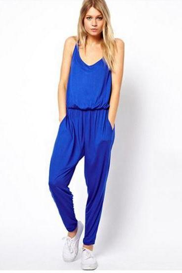 Adorable Chic Jumpsuit Romper (Blue or Black)