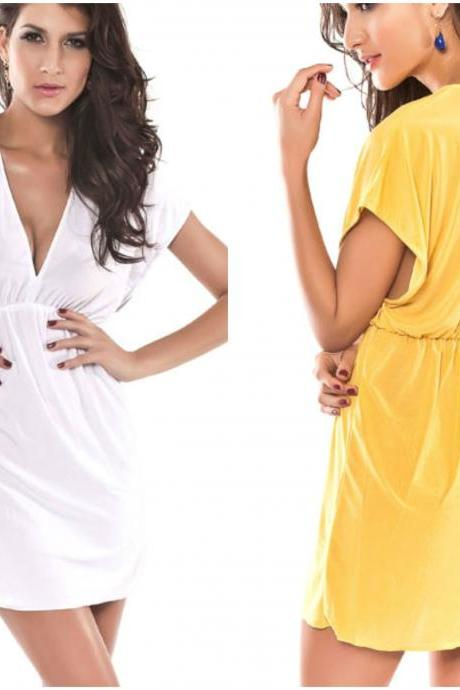 V Neck Beach Swimsuit Cover Up in Yellow and White