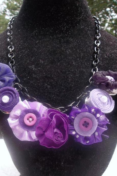 Purple Spring Flowers Necklace