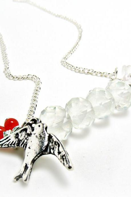 Little Sparrow Necklace- sparrow jewelry- bird necklace- bird jewelry- white neclace-white jewlery- czech crystal jewelry- czech glass jewelry-czech glass necklace-glass necklace-glass jewelry-jade necklace-jade jewlery-shabby chic-cottage chic