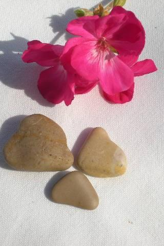 Mediterranean beach pebbles.3 Spanish heart shaped rocks by Oceangifts