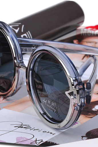 New VINTAGE STEAM PUNK Tops round Fashion steampunk Metal Star Men Retro CIRCLE sunglasses Women