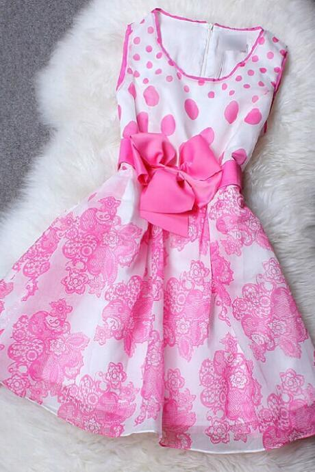Organza Polka Dot Bow Dress DG61414