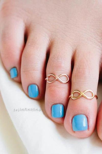 Gold infinity toe ring,,R098N