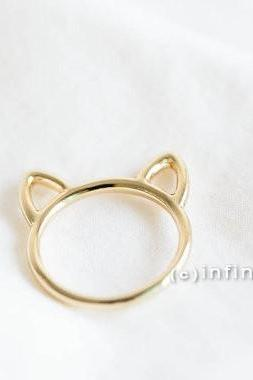 Gold cat ring,kitty ring,Raccoon ring,animal ring, whimsical ring,animal jewelry,gift for your Valentine,teen ring,unisex ring,cute ring,R249N