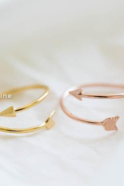Rose gold Arrow Ring,Unique Ring,Adjustable Ring,Knuckle Ring,Stretch Ring,Men Ring,Couple Ring,Cute Ring,Fun Ring,Bow Ring,R027N