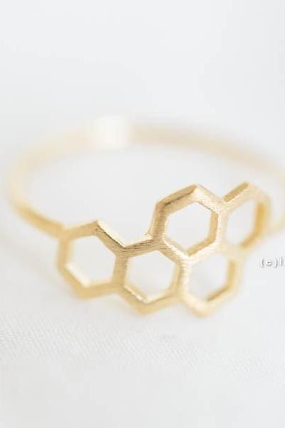 Gold royal jelly ring,Jewelry ,Ring,hexagon,hexagonal ring,geometric,modern,royal jelly,minimalist,5 hexagon ring,tiny hexagon,unique ring ,R232N