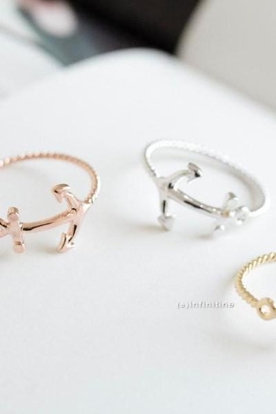 Rose gold cute anchor rings,jewelry, jewelry rings,anniversary ring,couple rings,unique rings,Funky rings,cute rings,R023N
