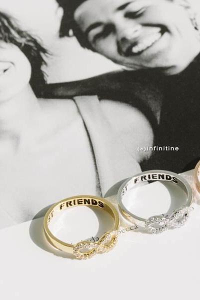Silver crystal infinity best friend rings,best friends rings,infinity rings,infinity jewelry,eternity rings,graduation rings,infinite ring,,R042N