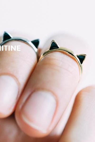 Gold Cute kitty cat adjustable knuckle ring,Jewelry,Ring,Metal,cat ring,kitty,cat ring,cat ears ring,ears ring,kitten,kitty ring, knuckle ring,pinky ring,adjustable ring,cute ring,cat ear,pet jewelry,black ears,RN2318