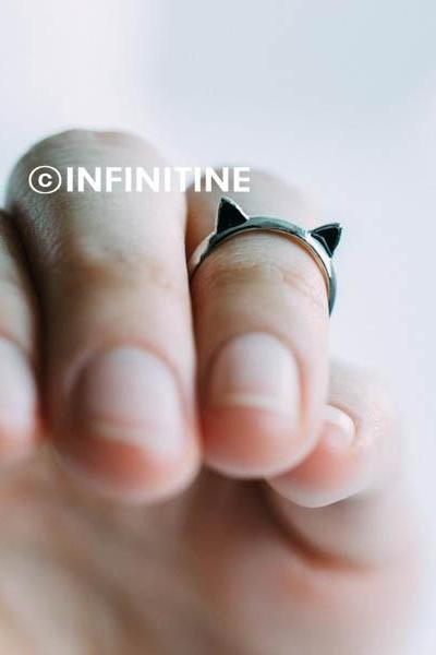 Silver Cute kitty cat adjustable knuckle ring,Jewelry,Ring,Metal,cat ring,kitty,cat ring,cat ears ring,ears ring,kitten,kitty ring, knuckle ring,pinky ring,adjustable ring,cute ring,cat ear,pet jewelry,black ears,RN2318