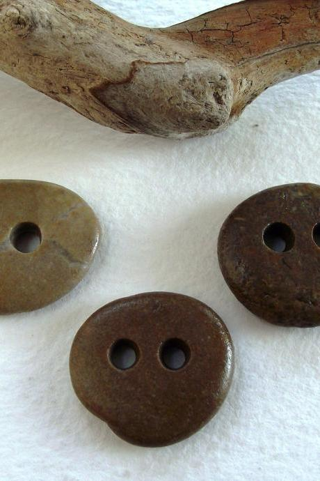 Stone Buttons.Natural smooth river sea pebbles from Spain by Oceangifts