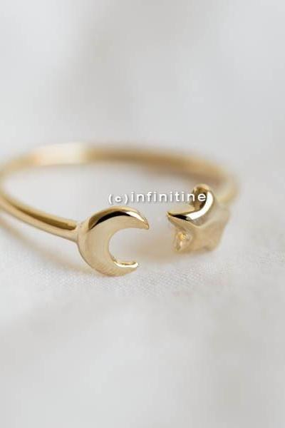 Gold Moon and star ring,Jewelry,Ring,bridesmaid gift,everyday ring,simple ring,moon ring,star ring,moon star jewelry,half moon,knuckle ring,R272N