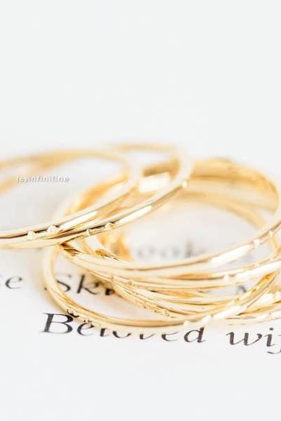 Gold set of 3 two dent thread knuckle ring,thread ring,stacking ring,stackable ring,stacked ring,mid ring,pinky ring,set rings,R051N