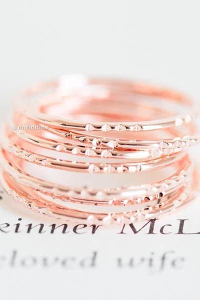 Rose gold set of 3 four dent thread knuckle rings,thread ring,stacking ring,stackable ring,stacked ring,mid ring,pinky ring,jewelry ring,,R132N